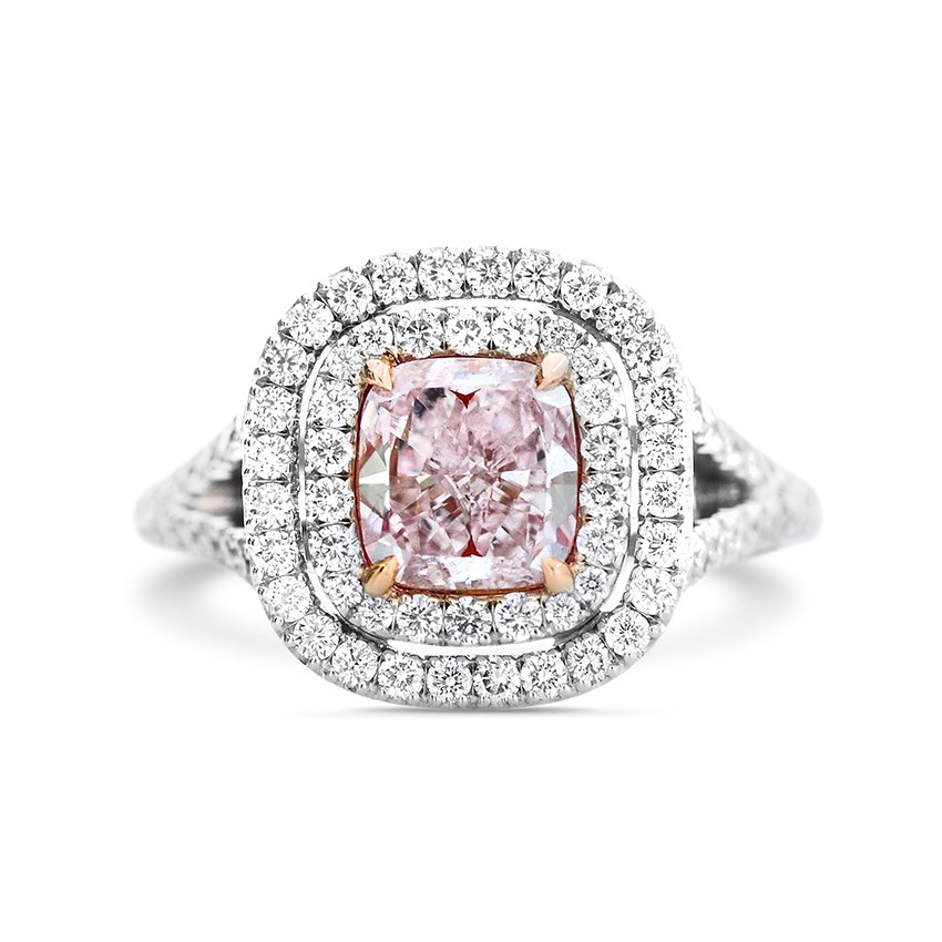 Double Halo Pink Diamond Ring