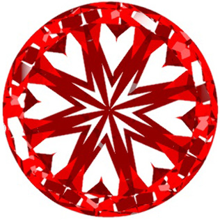 Hearts and Arrows Round Diamond Top View.